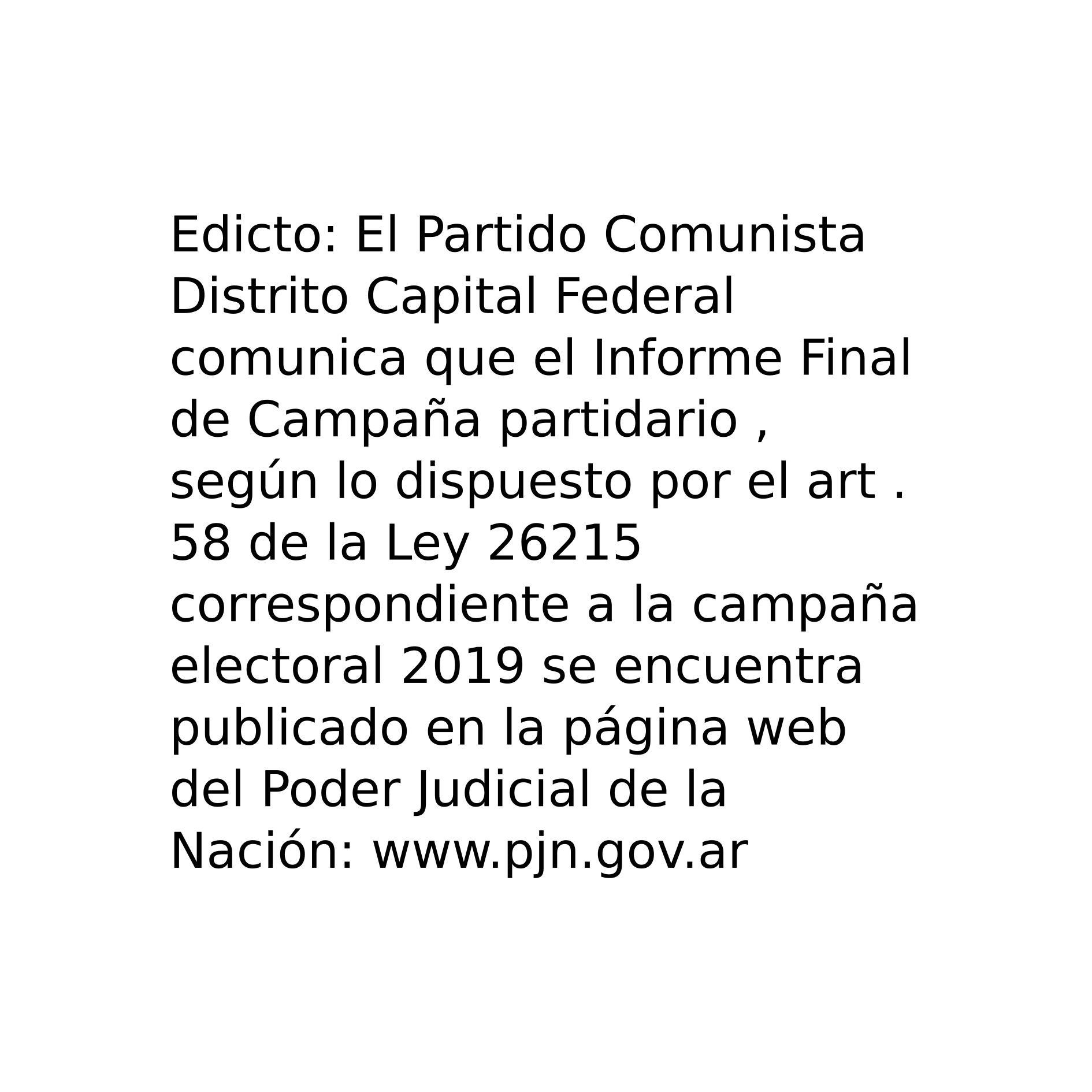 PC Distrito Capital Federal - Informe Partidario